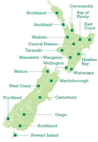 Regions of NZ Map
