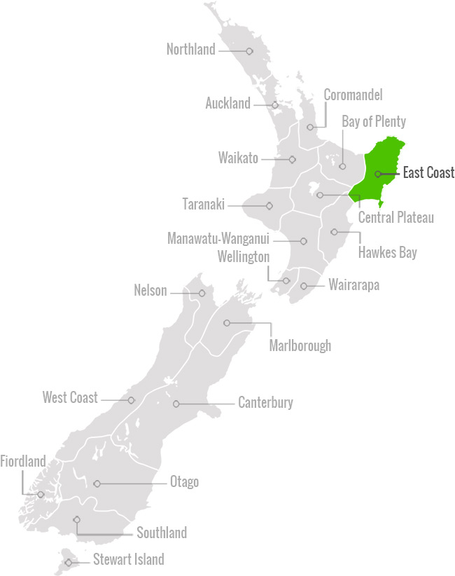 NZ Eastland Map