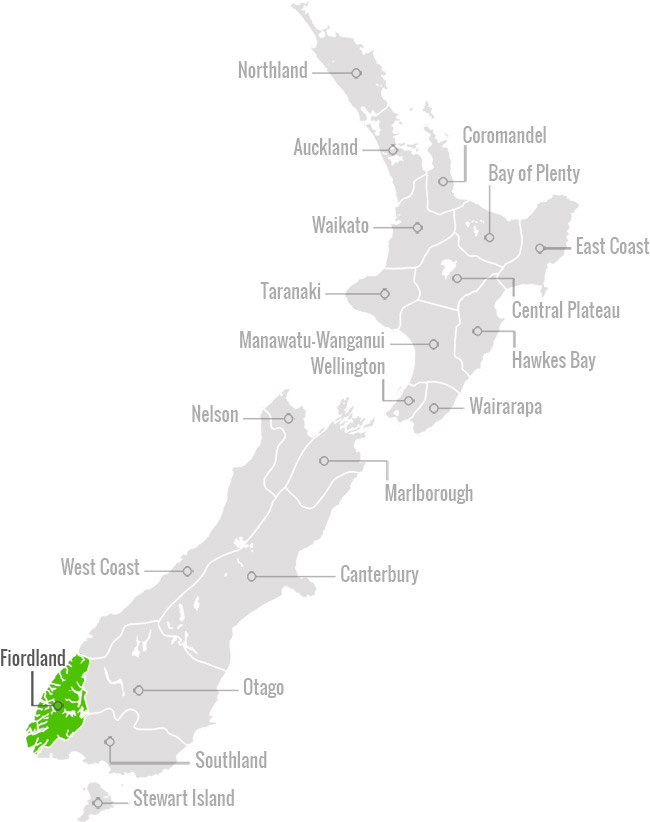 Map of Fiordland NZ