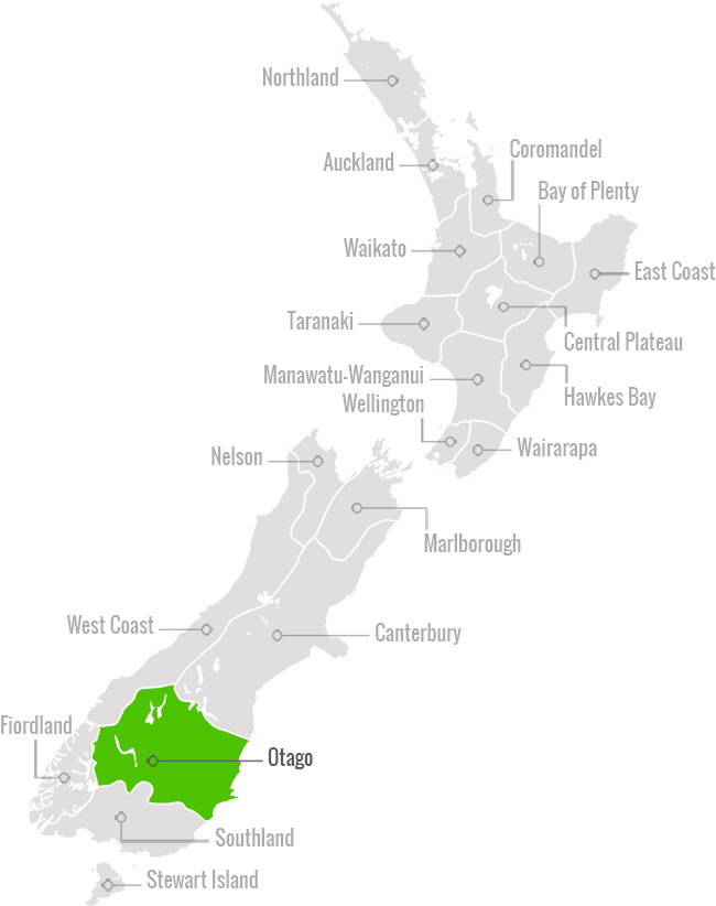 NZ Map of Otago region
